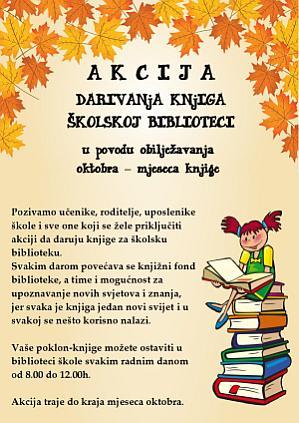 Akcija prikupljanja knjiga za �kolsku biblioteku. Klikni sliku za vi�e informacija